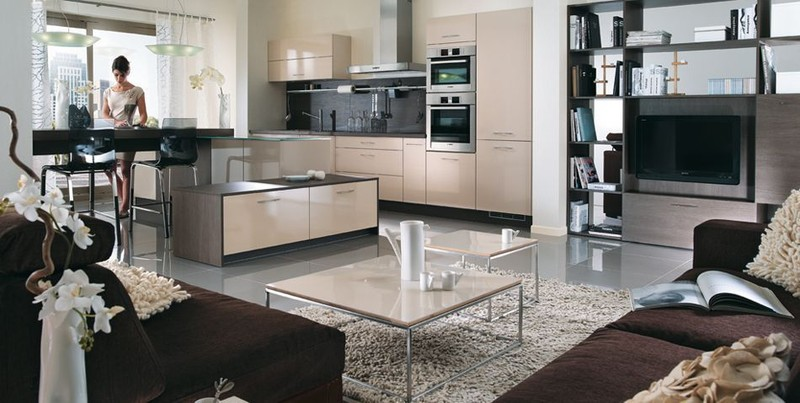 cuisine kiffa sable brillant cuisines meubles bernardo. Black Bedroom Furniture Sets. Home Design Ideas